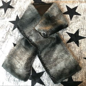 bebe Faux Fur Scarf Black Grey Charcoal